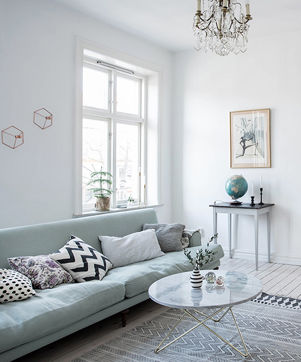 Grey Wall With Seafoam Green Accent Wall: A Swedish Apartment With Splashes Of Spring